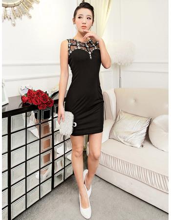 Cheap Sexy Sheath Short Black Satin Homecoming/ Party Dresses
