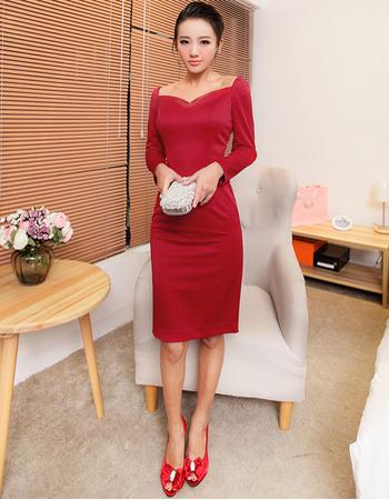 Elegant Sheath/ Column Short Satin Homecoming Dresses with Long Sleeves
