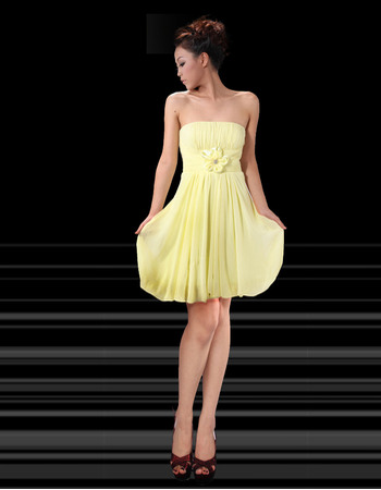 Simple Empire Sexy Strapless Chiffon Short Homecoming/ Party Dresses