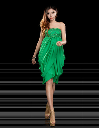 Discount Sexy Column/ Sheath Empire Strapless Knee Length Satin Homecoming Dresses