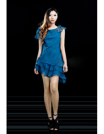 Custom Column/ Sheath Bateau Sexy Chiffon Short Asymmetric Homecoming Dresses