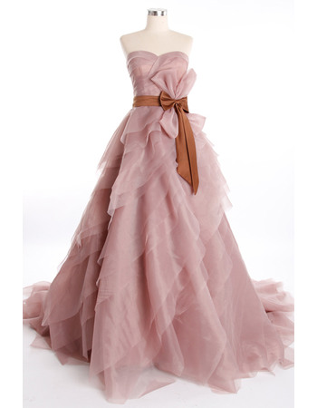 Stylish A-line Sweetheart Sweep Train/ Floor Length Organza Tiered Empire Prom/ Party Dresses