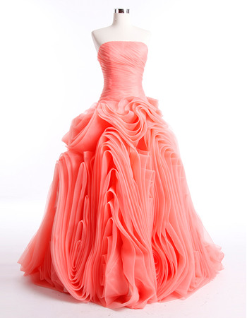 Elegant Ball Gown Ruched Skirt Organza Strapless Dropped Floor Length Prom/ Party Dresses