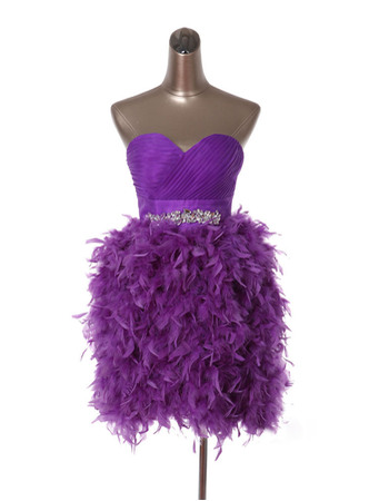 Inexpensive Ball Gown Sweetheart Short Feather Homecoming Dresses