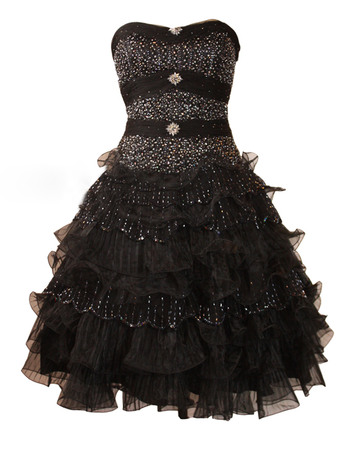 Affordable A-Line Sweetheart Short Black Homecoming/ Party Dresses