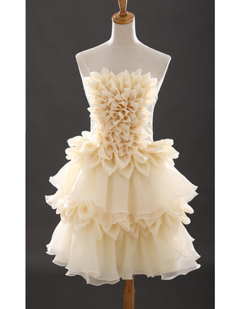 Discount Cute Strapless Short Chiffon Homecoming/ Party Dresses