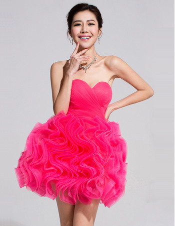 Discount Ball Gown Sweetheart Short Ruffle Homecoming/ Party Dresses