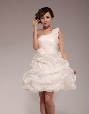 Inexpensive A-Line One Shoulder Short Taffeta Homecoming Dresses