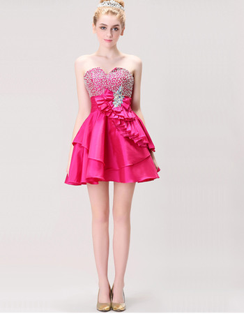 Informal Cute A-line Sweetheart Short Satin Homecoming/ Party Dresses
