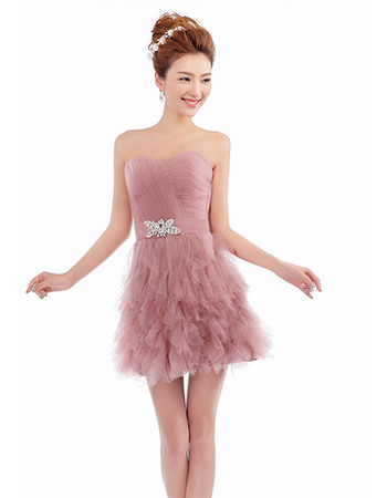 Perfect Sexy A-line Strapless Short Organza Homecoming/ Party Dresses