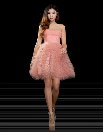 Unique A-Line Strapless Short/ Mini Ruched Organza Empire Satin Homecoming Dresses
