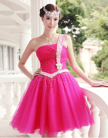 Wholesale A-Line One Shoulder Short Empire Organza Satin Homecoming/ Party Dresses