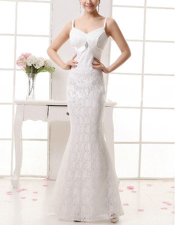 Sexy Mermaid Spaghetti Straps Full Length Lace Wedding Dresses