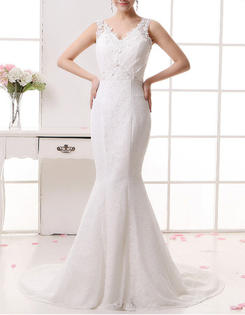Sexy Mermaid Sweep Train Lace Wedding Dresses with Beaded Appliques Neck and Waist