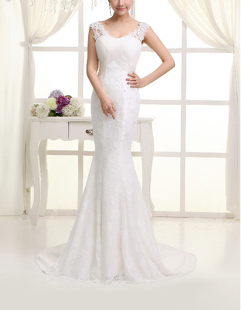 Sexy Mermaid Scoop Neck Sweep Train Lace Wedding Dresses with Appliques Shoulders