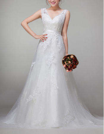 Pretty Affordable A-Line V-Neck Appliques Tulle Wedding Dresses
