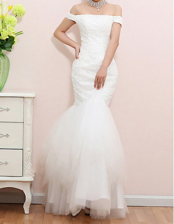 Fashionable Mermaid Off-the-shoulder Lace Wedding Dress with Tulle Skirt