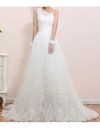 Elegant One Shoulder Appliques Tulle Wedding Dresses with Lace Bodice