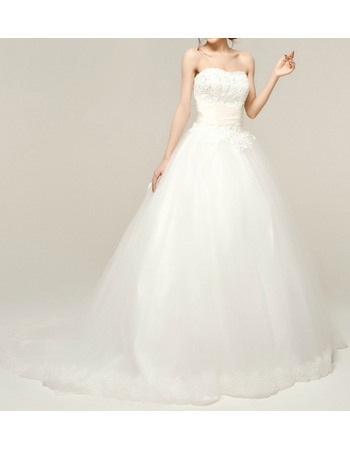 Custom Ball Gown Sweetheart Tulle Wedding Dresses with Beading Appliques Bodice