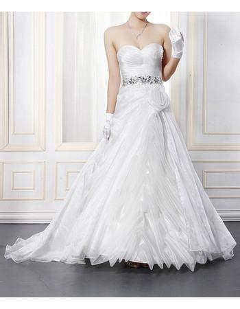 Stylish Taffeta Sweetheart Wedding Dresses with Rhinestone Waist