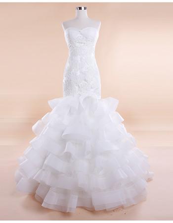 Modern Sexy Mermaid Sweetheart Sweep Train Wedding Dresses with Layered Tulle Skirt