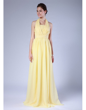Custom Sexy Halter Ruched Chiffon Floor Length Bridesmaid Dresses