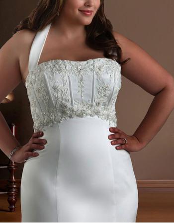 Unique Sexy Mermaid Halter Chapel Train Satin Floor Length/ Long Plus Size Wedding Dresses