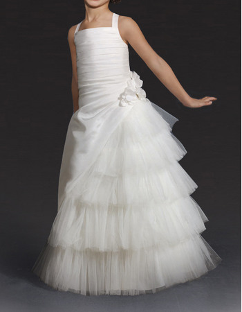 Beautiful Wide Straps Ivory Satin First Communion Flower Girl Dresses with Layered Tulle Skirt