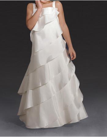 Cute A-Line Wide Straps Floor Length Taffeta Layered First Communion Flower Girl Dresses