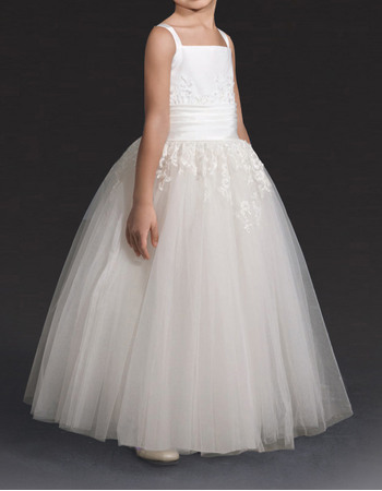 Affordable Ball Gown Wide Straps Satin Tulle First Communion Flower Girl Dresses with Lace Appliques Detail