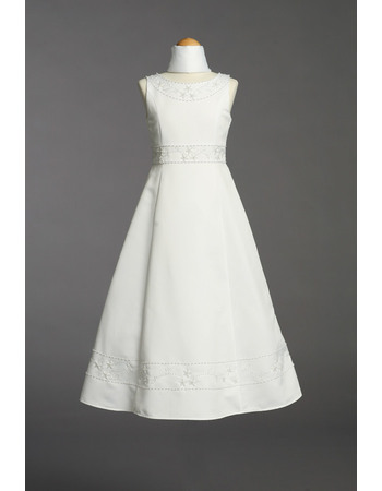 Charming Beautiful A-Line Floor Length Satin First Communion Flower Girl Dresses with Beading Embroidery