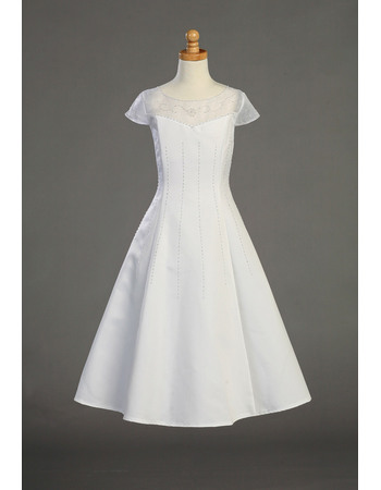 Perfect Custom A-Line Round Full Length Flower Girl Dresses/ White Beaded White First Communion Dresses with Cap Sleeves