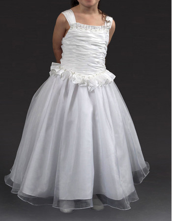 Perfect Cute Ball Gown Ankle Length Satin Organza First Communion Dresses with Ruffled Neck and Waist