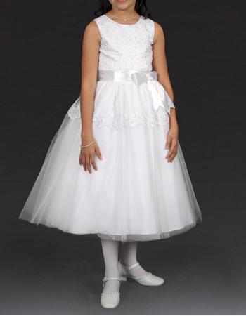 Custom Lovely Ball Gown Round Tea Length Satin Beaded Appliques White Tulle Flower Girl/ Communion Dresses
