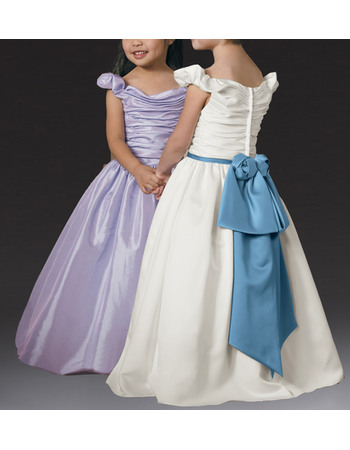 Custom Lovely Ball Gown Off-the-shoulder Long Length Flower Girl Dresses with Ruching