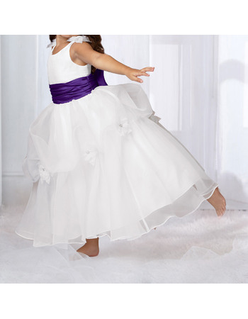 Beautiful Ball Gown V-back Ankle Length Pick-up Organza Flower Girl Dresses with Hand-made Flowers