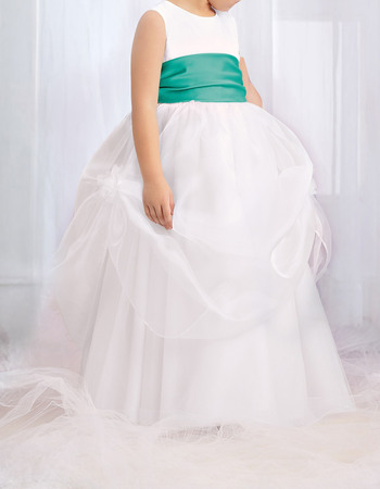 Pretty Affordable Ball Gown Round Long Length Pick-up Tulle Flower Girl Dresses with Sashes