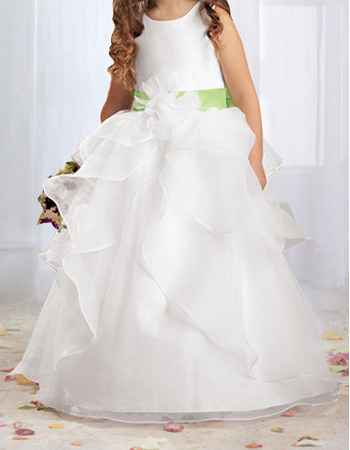 Lovely Ball Gown Round Layered Skirt Flower Girl Dresses with Hand-made Flowers