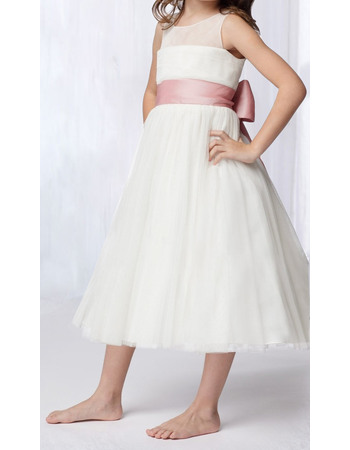 Inexpensive A-Line Round Tea Length Tulle Flower Girl/ Communion Dresses with Sashes