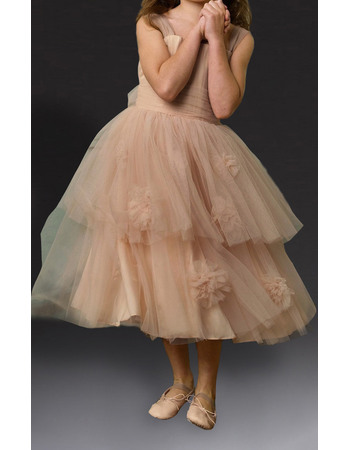 Discount Ball Gown Wide Straps Tea Length Tulle Little Girls Party Dresses
