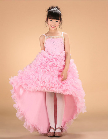 Gorgeous Pink A-line Beaded Straps High-Low Asymmetric Hem Ruffle Little Girls Party Dresses with Beadings/ Flower Girl Dresses