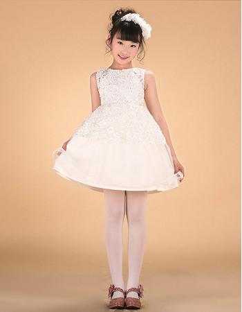 Discount A-Line Bateau Mini/ Short Satin Lace Applique Flower Girl Dresses