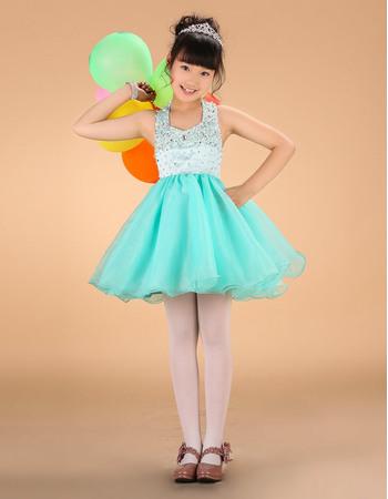 Designer Luxury Beaded Crystal A-Line Halter Mini Satin Organza Little Girls Holiday Dresses/ Girls Party Dresses