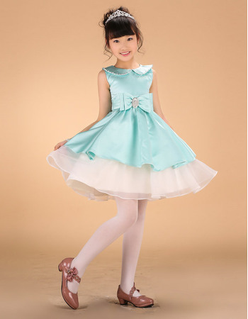 Affordable A-Line Mini/ Beaded Doll Collar Short Layered Skirt Color Organza Block Little Girls Holiday Dress