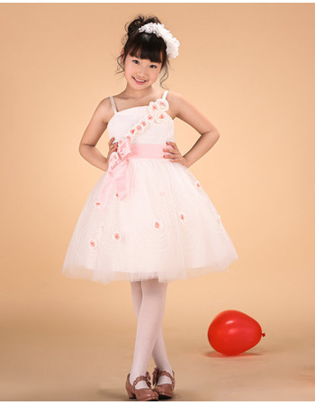 Cute A-line Spaghetti Straps Knee Length Tulle Color Block Flower Girl Dresses with Handmade Flowers