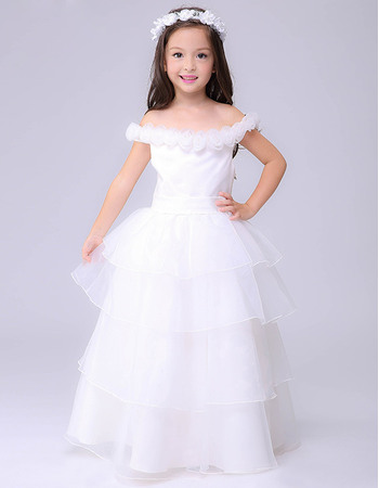 Perfect Ball Gown Handmade Flowers Off-the-shoulder Long Length Layered Skirt White Organza First Communion Dresses