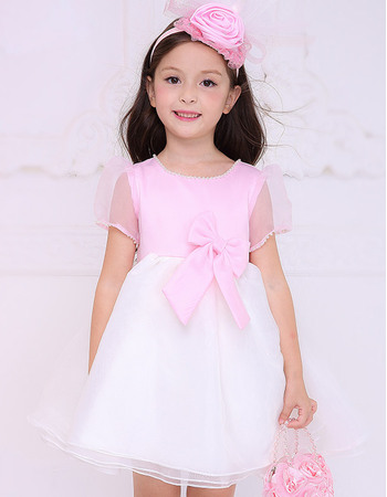 Nice A-line Beaded Round Empire Short Two Tone Flower Girl Dresses with Short Sleeves