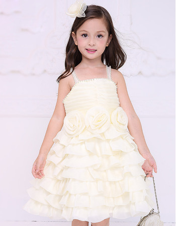 Pretty Custom Empire Beading Spaghetti Straps Short Chiffon Ruffled Layered Skirt Flower Girl Dresses with 3D Flowers