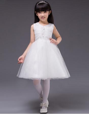 Lovely Ball Gown Beaded V-Neck Short Satin Tulle White Little Girls Party Dresses