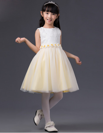 Pretty A-Line Bateau Short Two Tone Flowers Little Girls Easter/ Spring Dresses with Hand-made Flowers